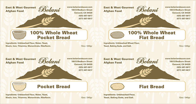 Food label set 3 east west gourmet afghan food